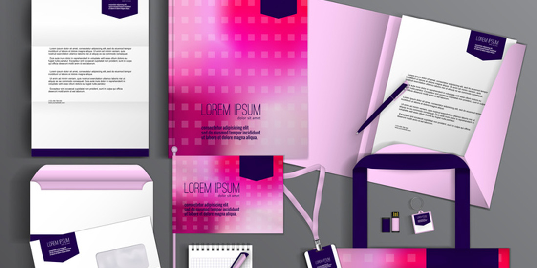 Pink corporate identity template design with abstract background. Business set stationery.